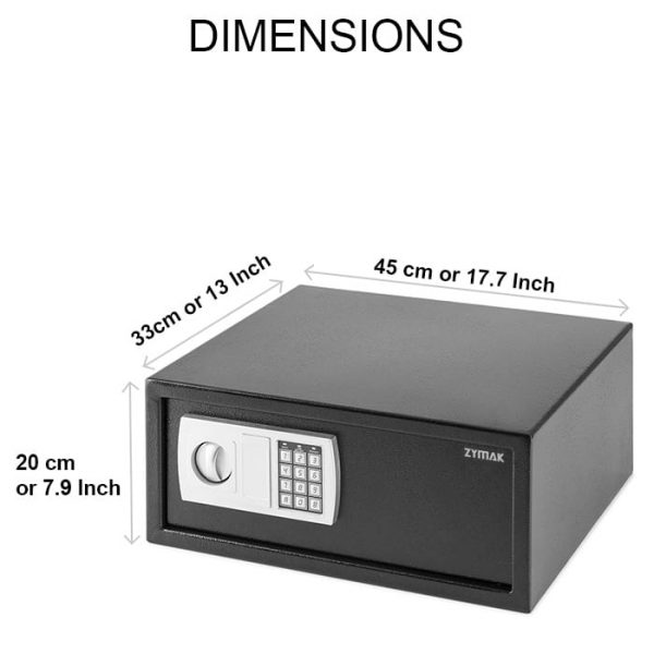 Dimensions of the Zymak L300 Digital Safe Locker