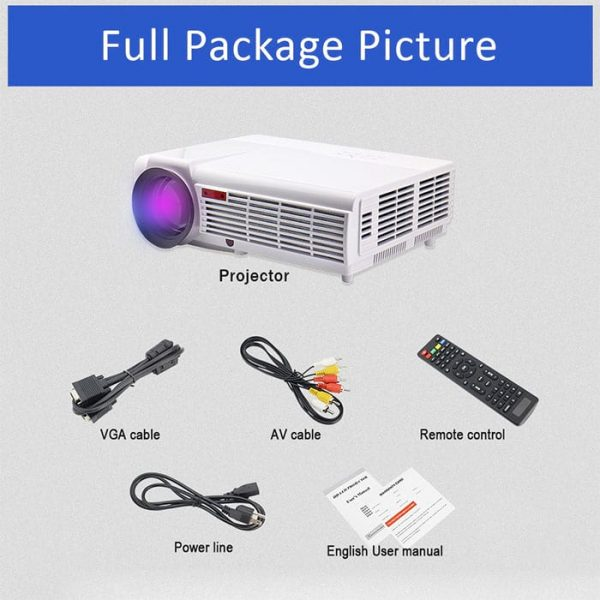 Full Package Picture of the LED96W Multimedia Projector