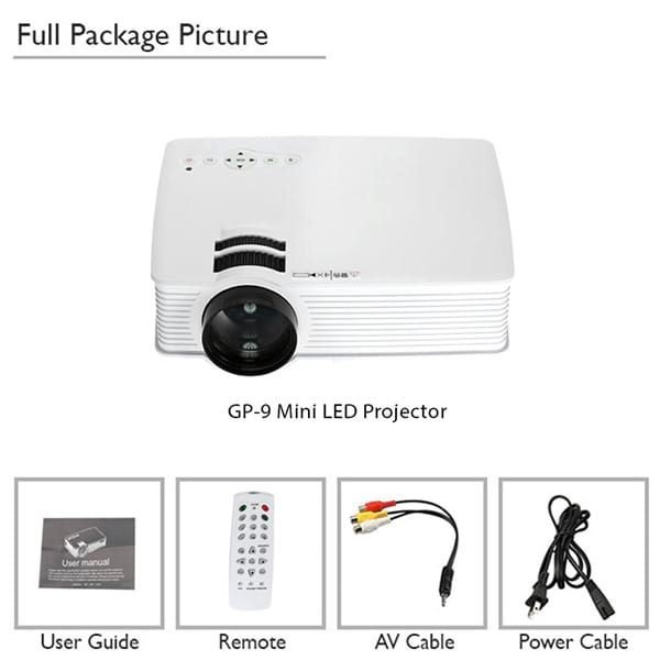 GP9 3D Mini Projector Full Package Contents