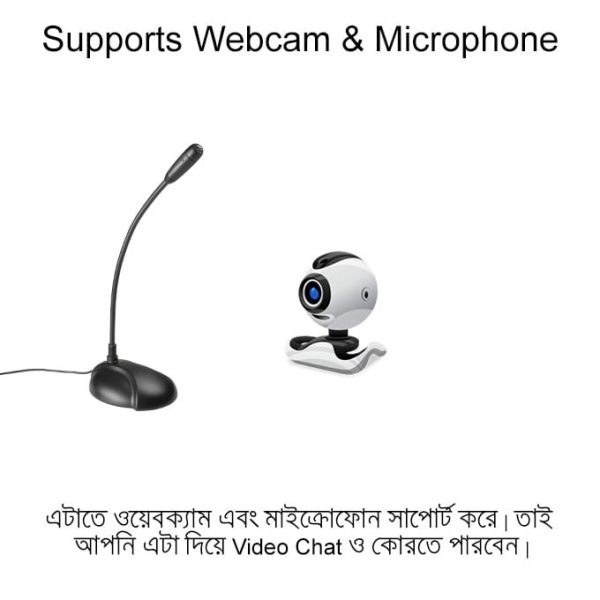 You can connect microphone and webcams too