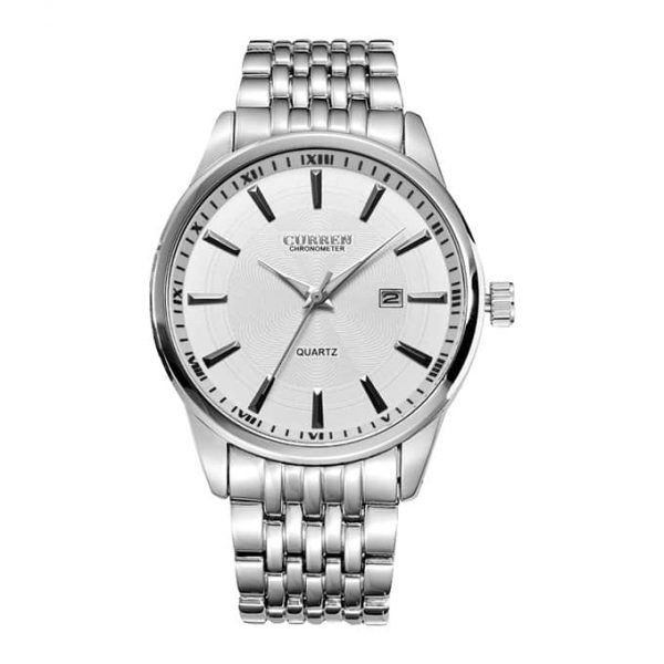 Curren 8052 Men's Watch With Silver Belt And White Dial