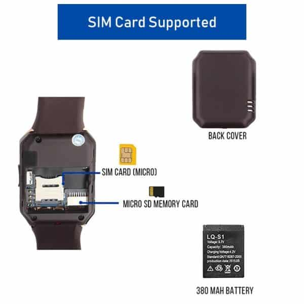 DZ09 Golden Mobile Watch Supports SIM Card