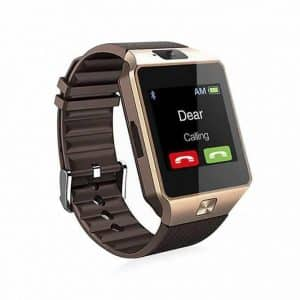 Golden Colour DZ09 Smart Watch Phone With SIM Support