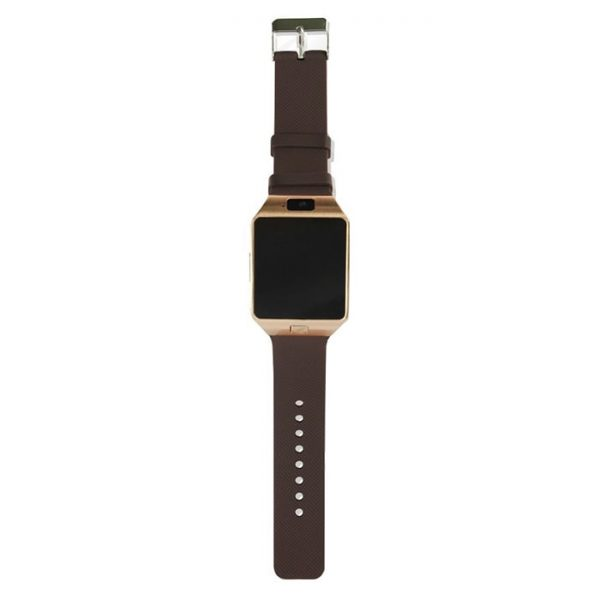 DZ09 Smart Watch Golden Body With Brown Belt