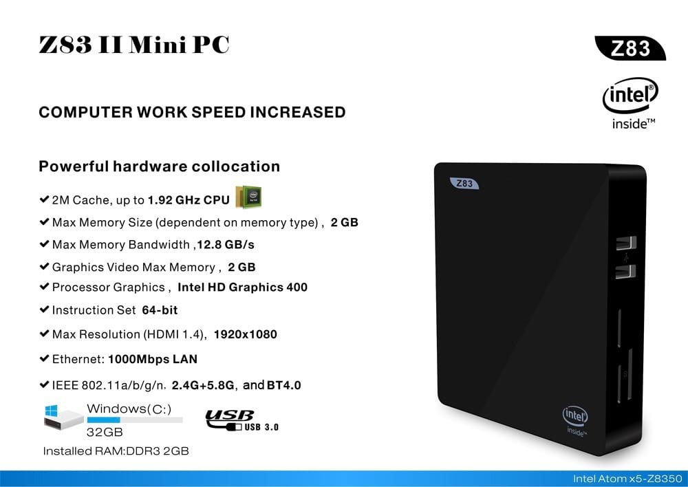 Extra Features of the Z83ii Compact PC