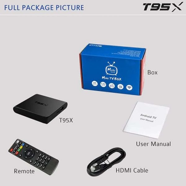 Full Package Picture T95X Android Tv Box 2G-16G