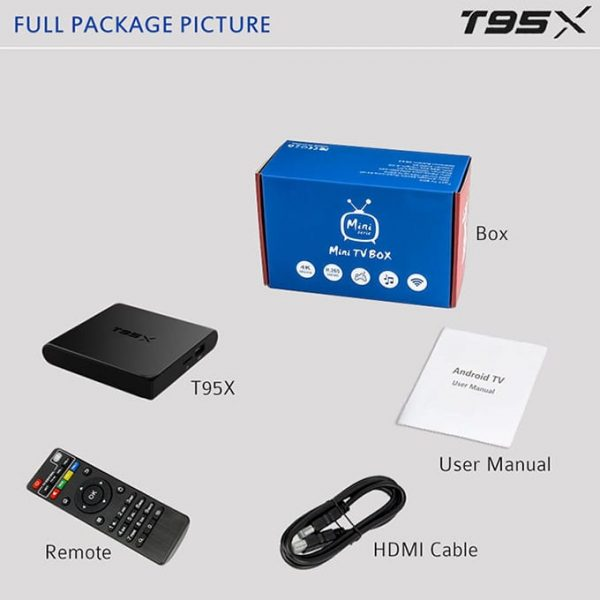 Full Package Picture T95X Smart Tv Box 1G-8G
