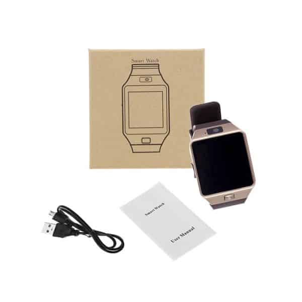 Full Package Picture of the DZ09 Golden Smart Watch Phone