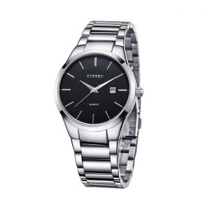 Curren 8106 Watch With Silver Belt And Black Dial