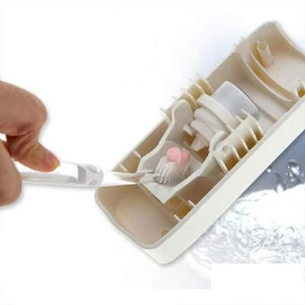 Push the toothbrush inside and the toothpaste will come out