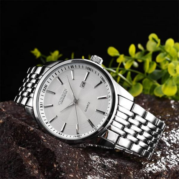 Real Picture of the Curren Business Casual Watch 8052 Silver White