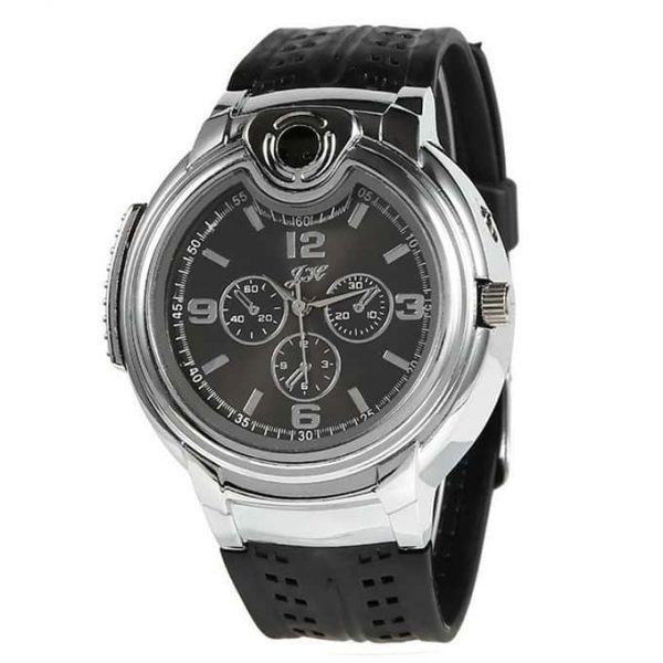 Stainless Steel Watch With Cigarette Lighter