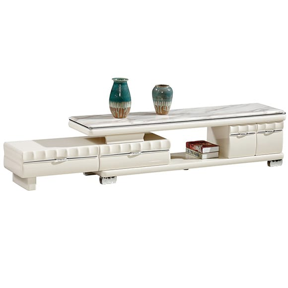 Chinese Furniture TV-621 White Color TV Cabinet Stand With Marble Stone