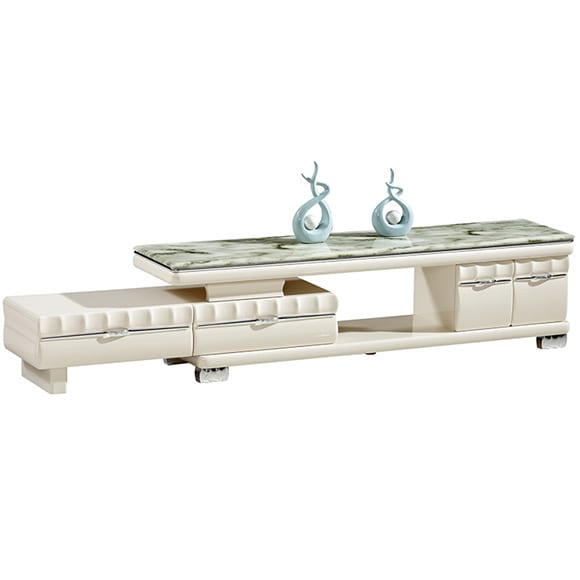 TV-623 White Color TV Cabinet With Silver Drawer