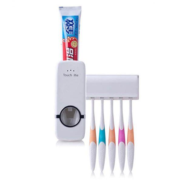 White Colour Toothpaste dispenser plus toothbrush holder