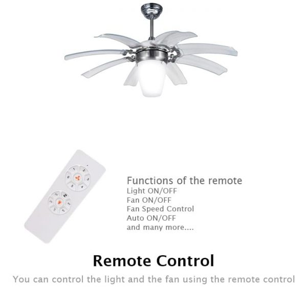 43 inches Remote Control Ceiling Fan With LED Light