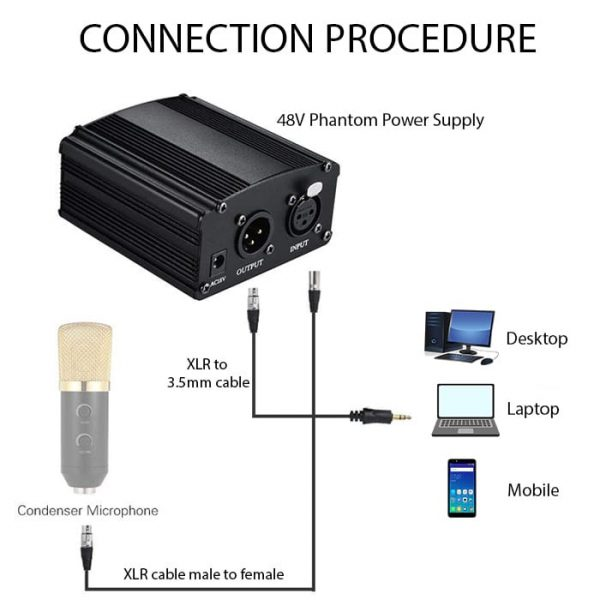 Connectivity Steps For Phantom Power Supply