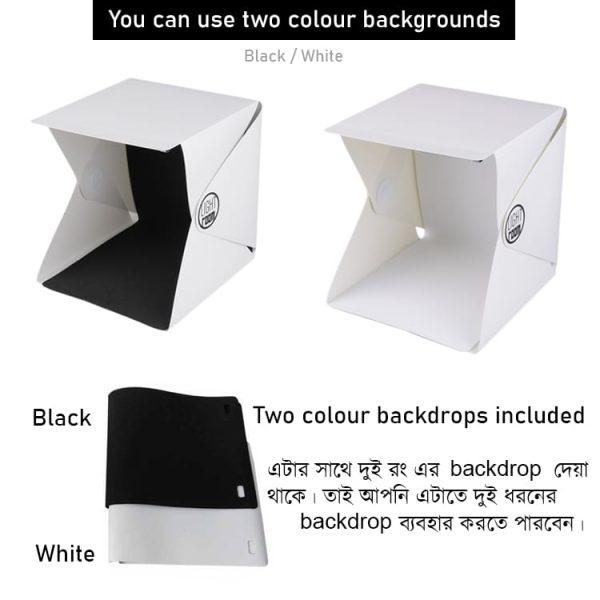 Includes Two Colour Backdrops