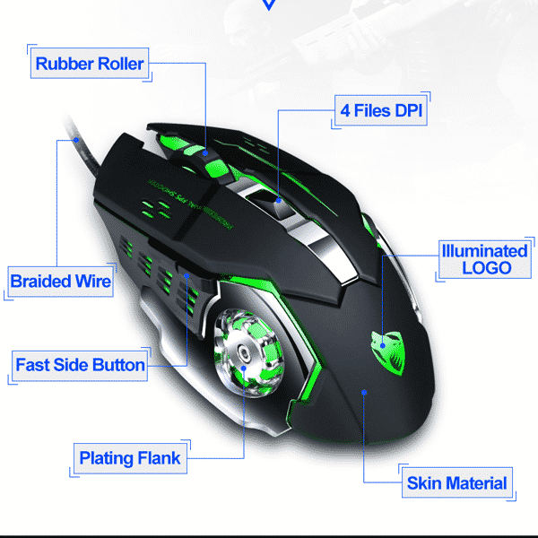 Buttons configuration of T Wolf V6 RGB Gaming Mouse