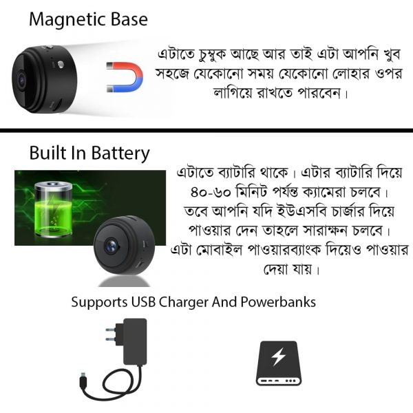 A9 Magnetic Base Mini Camera has built in battery with upto 60 minutes backup