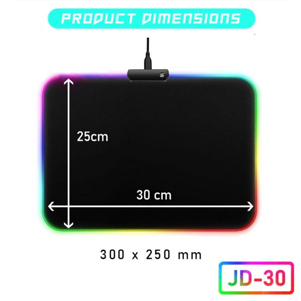 Size Reference Picture For the JD-30 RGB Backlit Gaming Mouse Pad